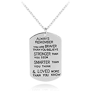 Xwanli You are Braver Than You Believe Awareness Necklace Graduation Gift Best Friend Encouragement Gifts Family Jewelry School Prize