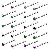 Kurtzy Pendientes Nariz Perno (Pack de 20) Piercing Nariz Acero Inoxidable 1,8 mm - Set Cristal con Colores Variados para Cartílago,...