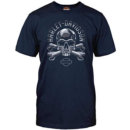 Camp Arifjan HARLEY-DAVIDSON Military Adversary Mens Navy Skull Graphic T-Shirt