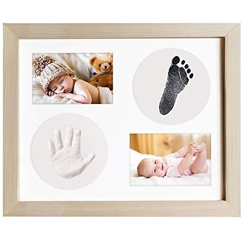 Baby Handprint Footprint Photo Frame Kit para bebé recién nacido, marco de madera original, papel de impresión y almohadilla de tinta Clean Touch