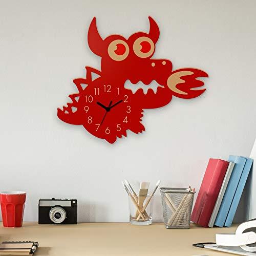 3D-Wanduhr für Kinder mit Darstellung eines süßen Drachens, leise, batteriebetrieben, dekorative Holz-Wanduhr, leicht für Kinder zu lesen, für das Kinderzimmer, Klassenzimmer, rot