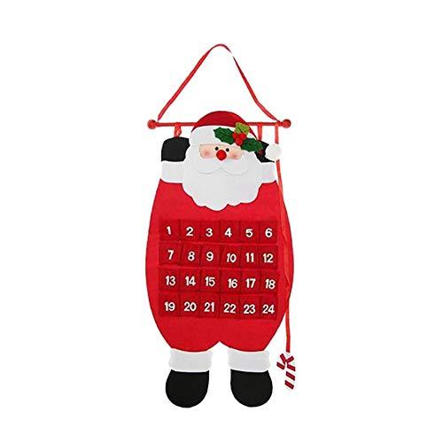 Ma Jia(TM Adventskalender Weihnachten Countdown Filztuch Weihnachtsmann Schneemann Elch Ornamente Neujahr Weihnachtsdekoration (Weihnachtsmann)