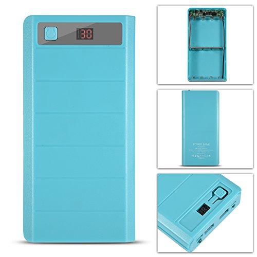 Custodia Power Bank, 20000 mAh 8 x 18650 batterie Caricatore portatile per la maggior parte dei dispositivi digitali Doppia uscita USB Ingresso di tipo C ecc. Multi-porta(Blu)