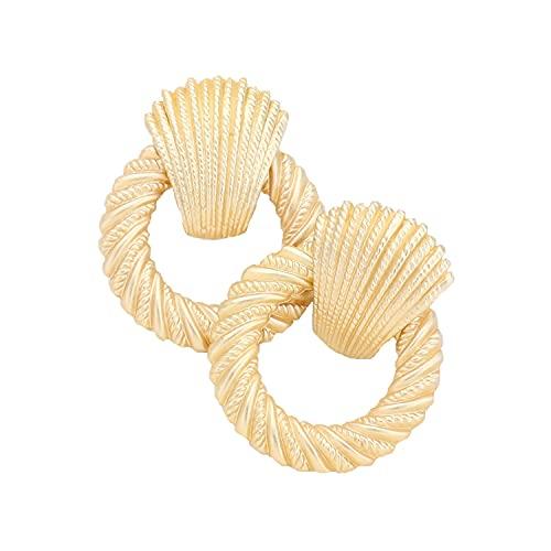 Schmuckanthony Hoernel - Pendientes de aro con clip (4,5 cm), color dorado mate