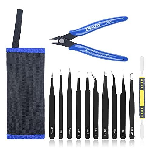 Ainiv 12 Pcs Pinzas de Precisión, Pinzas de Precisión Kit, Tweezers ESD Anti-Estáticas de Acero Inoxidable Pinzas para Electrónicas, Trabajo de Laboratorio, Joyería, Maintenance Tools, negro