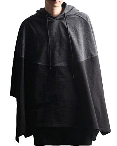 DianShao Herren Spleiß Revers Freizeit Lange Ärmel Hoodie Lose Mantel Sweatshirts Schwarz Grau M