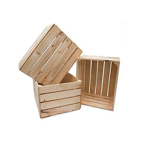 Set 3 Cassette legno super resistenti Maxi colore neutro