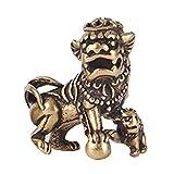 Oulensy Decoración De Cobre Estatua China del Perro De Foo De Aniaml Bola del Juego Amuleto Escultura