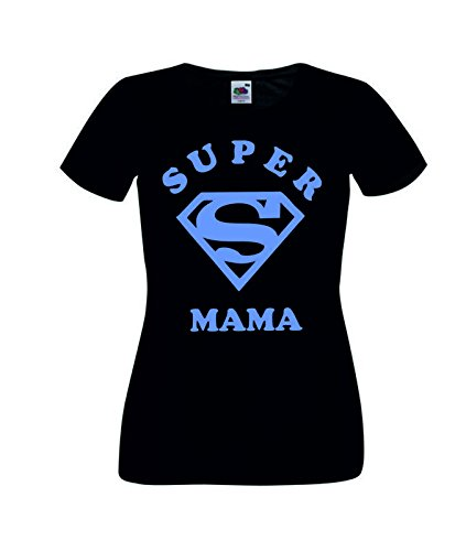 Camisetas divertidas Child Super Mama - para Mujer Camisetas Talla Medium Color Negro