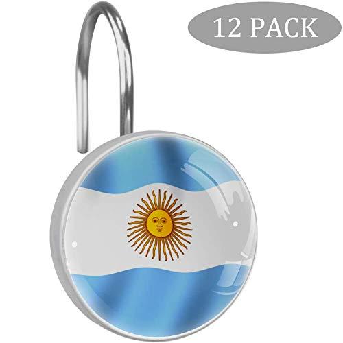 Bennigiry - Ganchos para Cortina de Ducha, diseño de Bandera de Argentina con Cristales Transparentes, 12 Unidades