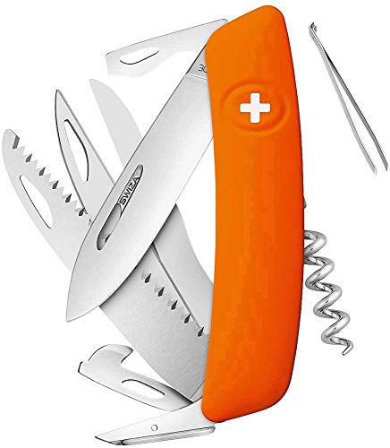 SWIZA 691305 Zwitsers D10, oranje mes, zilver