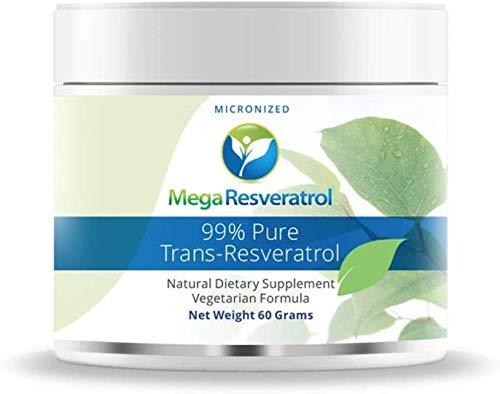 Mega Resveratrol Powder, Pharmaceutical Grade, 99% Pure Micronized Trans-Resveratrol, 60 Grams Powder, Purity Certified. Excipients Free.