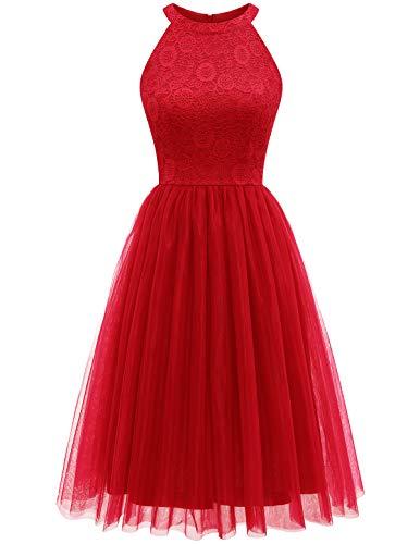 HomRain Tüllrock Damen tütü Cocktailkleid Tüll Spitzenkleid Brautjungfern Partykleid Abendkleid Faschingskostüme Red M