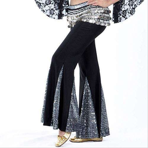 Bauchtanz Kostüm Fischschwanz Hose Pailletten Trainingskleidung Yoga Hose Tanzschule Performance Kleidung One Size Schwarz Silber