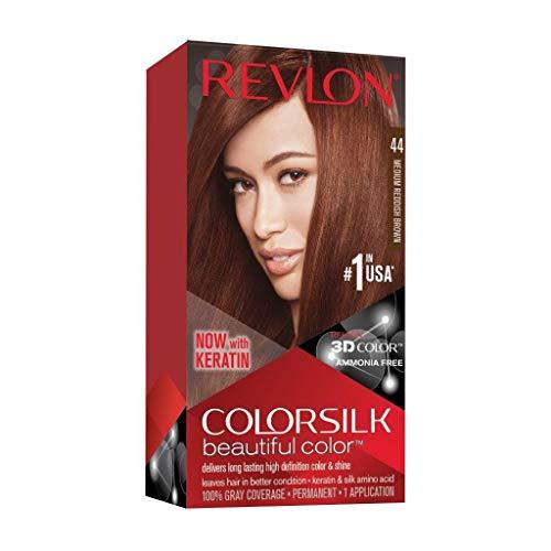Revlon Colorsilk Beautiful Color, Permanent Hair Dye with Keratin, 100% Gray Coverage, Ammonia Free, 44 Medium Reddish Brown