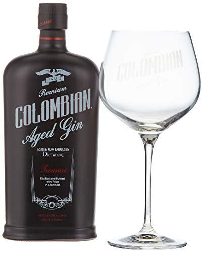 Dictador Treasure Colombian Aged Gold Gin mit Geschenkverpackung mit Glas (1 x 0.7 l)