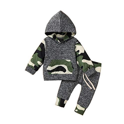 T TALENTBABY Kleinkind Langarm Hoodie Kleidung Sets Kleinkind Pullover Sweatshirt Camouflage Hooded Sweatshirt Tops + Camouflage Hose Infant Outfits Set, ArmyGreen, 12-18 Monate