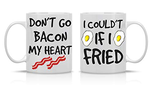 Don't Go Bacon My Heart, Could't If I Fried - Funny Couple Mug - (2) 11OZ Coffee Mug - Funny Mug Gift Set - Mugs For Husband and Wife His And Her Gifts - By AW Fashions