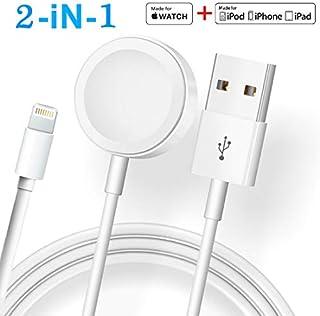 ATETION 2 en 1 Cable de cargador de teléfono y estación de carga compatible con Apple Watch Holder para Apple iWatch Series 4/3/2/1/iPhone X XS MAX/8 Plus/8 ..., J1