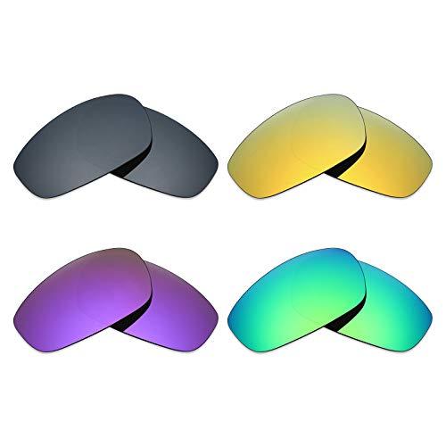 Mryok Lot de 4 paires de verres polarisés de rechange pour lunettes de soleil Oakley Split Jacket – Noir IR/or 24 carats/violet plasma/vert émeraude