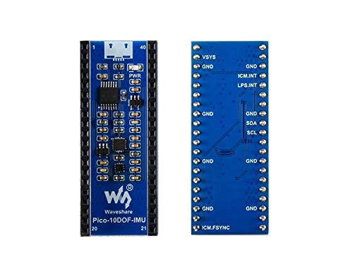Waveshare 10-DOF IMU Sensor Module for Raspberry Pi Pico Incorporates 9-Axis Motion Sensor ICM20948 and Baroceptor LPS22HB