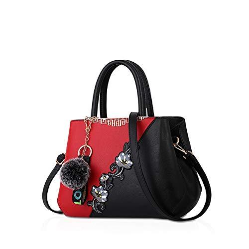 NICOLE & DORIS Handtaschen Damen modische Damenhandtaschen Taschen Damen Umhängetaschen mit Blumenmuster Spleiß Farbe Weinrot