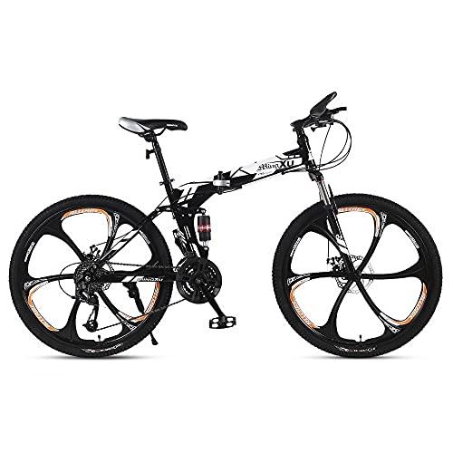 GGXX Bicicleta De MontañA Marco De Acero con Alto Contenido De Carbono Freno De Disco 24/26 Pulgadas 21/24/27 Caja De Cambios De Velocidad Bicicleta Plegable De SuspensióN Completa
