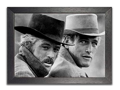 """Butch Casidy & Sundance Kid Black and White Old Classic Vintage American Cine Movie Star Póster Famoso Foto Decoración de pared, Papel fotográfico Semigloss, A4 Framed 35cm x 27cm - 10.5"""" x 14"""" inches"""