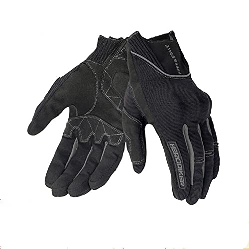 Motorcycle Gloves Summer Breathable Guantes Moto Touch Screen Motocross Off Road Gloves Motorbike Riding Gloves-B1 Black-1-L