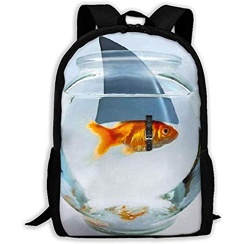 Bolsas de hombro unisex para libros,mochila grande,paquete ajustable para la universidad,mochila informal,pez dorado con cuerno de tiburón en pecera,mochila escolar para niños,mochila de día al aire l