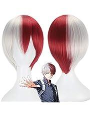 My Hero Academia Shoto Todoroki Cosplay peluca blanca y roja peluca corta Boku no Hiro Akademia Shouto Head disfraz