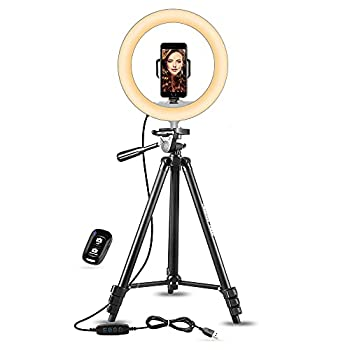 UBeesize 10  Selfie Ring Light with 50  Extendable Tripod Stand & Phone Holder for Live Stream/Makeup Mini Desktop Led Camera Ringlight for YouTube Video Compatible with iPhone/Android