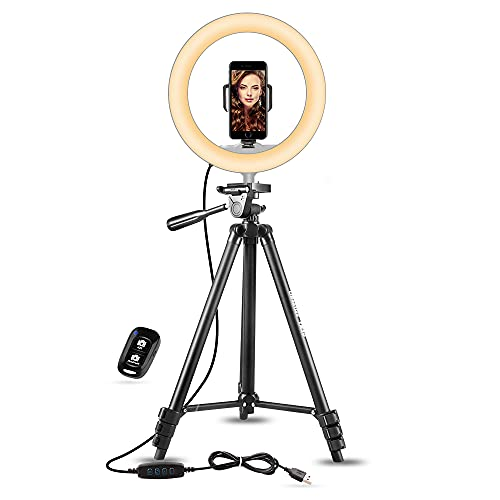 UBeesize 10' Selfie Ring Light with 50' Extendable Tripod Stand & Phone Holder for Live Stream/Makeup, Mini Desktop Led Camera Ringlight for YouTube Video, Compatible with iPhone/Android