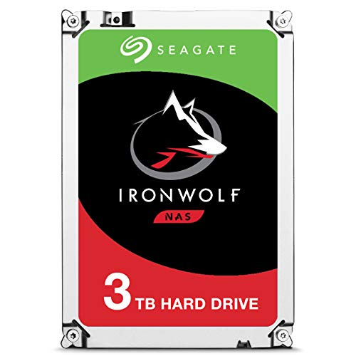 Seagate 3 TB IronWolf 3.5 Inch 5900 RPM Internal Hard Drive for 1-8 Bay NAS Systems (64 MB Cache, 180 TB/Year Workload Rate, Up to 180 MB/s), Silver