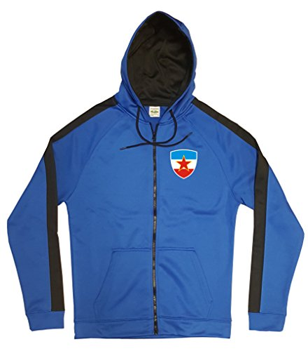 Jugoslawien Jacke Sweater Royal GO Jugoslavija Trikot Look Zip Nation Fussball Sport (L)