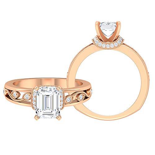 Rosec Jewels 14 quilates oro rosa Octagone Round Brilliant Moissanite
