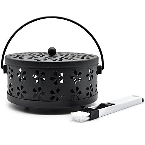 Quemador Incienso, Mosquito Coil Holder, Clásico Diseño Portátil Metal Incienso Soporte(Negro)