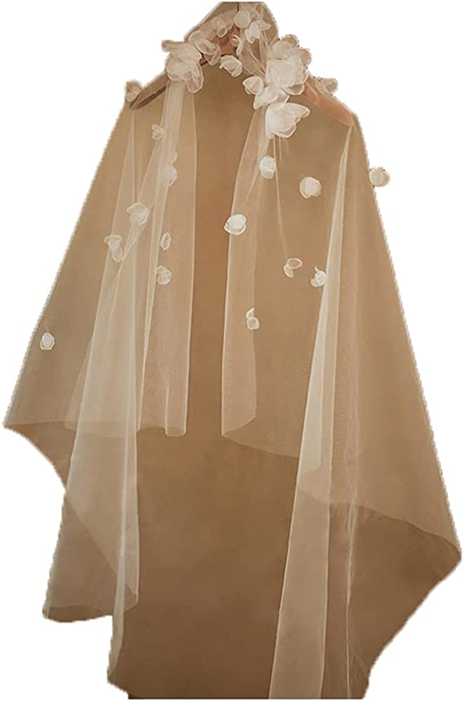 1T Simple 3D Flower Veil Bridal Fingertip Length Veil Women's Tulle Veil for Wedding Long Veil with Comb