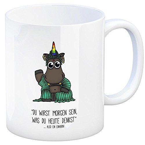 trendaffe - Honeycorns Kaffeebecher mit Einhorn Motiv und Spruch: Du wirst Morgen Sein was du Heute denkst Also EIN Einhorn! Tasse Kaffeetasse Becher Mug Teetasse Büro Buddhismus Buddha Religion Om