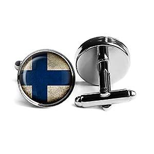 Finland Finnish Flag Finnland Finnische Flagge Rhodium Silber Manschettenknöpfe