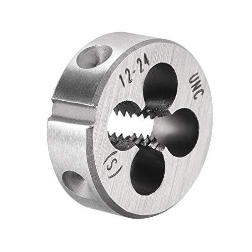 uxcell 12-24 UNC Round Die, Machine Thread Right Hand Threading Die, Alloy Tool Steel