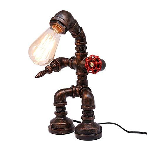 Floepx Retro Industrial Steampunk Eisen Roboter Schreibtisch Lampe, Antike Eisen Roboter Metall Rohr Schreibtisch Tischlampe, Bar und Raumdekoration