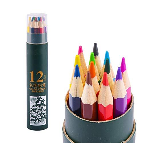 Lapices Colores Yuan Ou 12/24/36/48 colores acuarela profesional juego de lápices de colores de madera boceto artístico dibujo pintura material de papelería escolar verde-12 colores