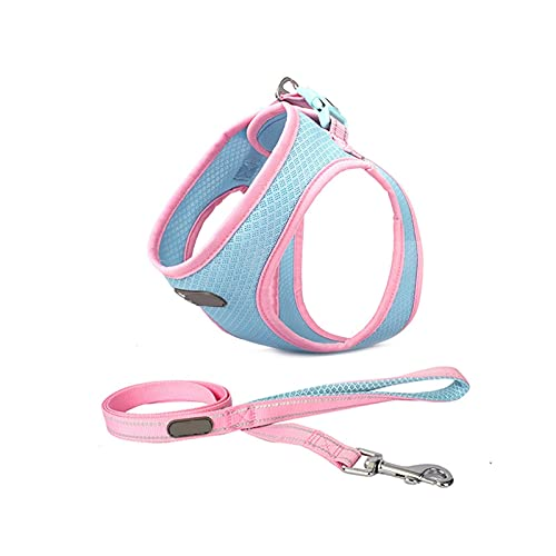 LWXFXBH Arnés y correa para perro pequeño y mediano tamaño arnés para gato, arnés de malla transpirable ajustable para mascotas cachorro gato chaleco collar (color: rosa, tamaño: S)