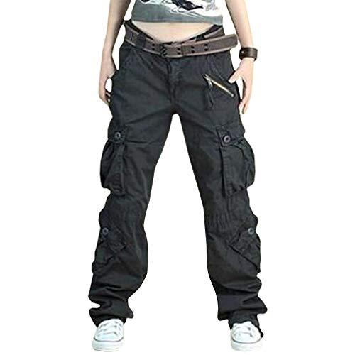 Damen Cargo Hose, Frauen Armee Militär Beiläufig Ladung Keuchen Hosen mit Multi Taschen Mode Loose Fit Casual Hosen High Waist Bequem Jogginghose