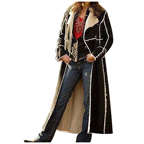 Ellymi Women's Suede Winter Slim Long Cardigan Long Sleeve Warm Coat Windbreaker Jacket Parka Coats Faux Lambs Pea Coat Black