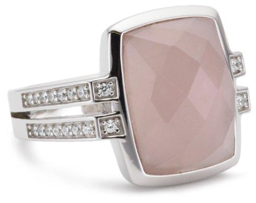 Esprit Damen-Ring swank rose 925 Sterlingsilber 32 Zirkonia farblos 1 Rosenquarz rosa Gr. 17 ESRG91699B170