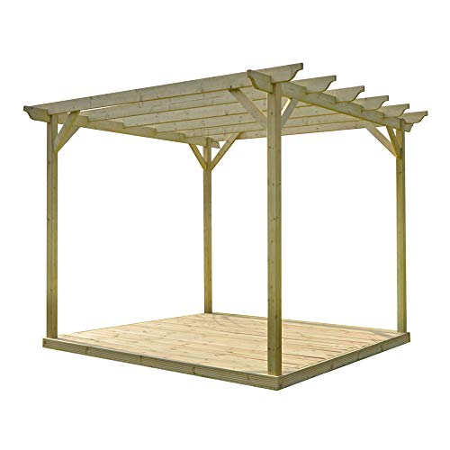 Rutland County Garden Furniture Wooden Pergola and Decking Kit (2.4m x 2.4m, Light Green)