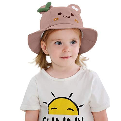 Kuksoa Sombrero De Pescador para NiñOs NiñOs NiñAs Primavera Verano Sombrero De AlgodóN para El Sol PatróN De Dibujos Animados Sombrero De Cubo Sombrero De Sol NiñOs Playa Viaje con VC(Rosa)