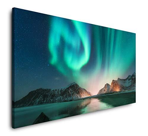 Paul Sinus Art Polarlichter 120x 60cm Panorama Leinwand Bild XXL Format Wandbilder Wohnzimmer Wohnung Deko Kunstdrucke